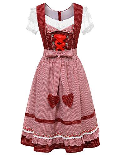 festliche dirndl midi Aupuls AUP00175 Midi Dirndl mit Bluse und Schürze 3 Teilig Damen Trachtenkleid Rot S