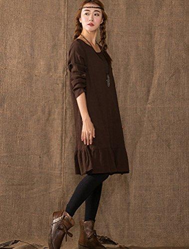 MatchLife Femme O-Cou Manche Longues Robe Café