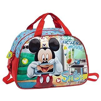 Disney Mickey Smile Bolsa de Viaje, 24.64 Litros, Color Azul