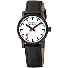 Mondaine  evo2 30mm sapphire Watch with St. Steel IP black Case white Dial and black leather with black stitches Strap MSE.30111.LB