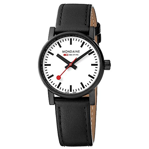 Mondaine Women's  evo2 30mm sapphire Watch with St. Steel IP black Case white Dial and black leather with black stitches Strap MSE.30111.LB