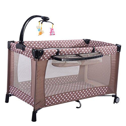 Goplus Kinderreisebett Spielstall Babybett Laufstall Klappbett mit Wickeltisch und Mobile Farbwahl (Grau)