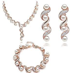 hsg luxus kristall perlen braut schmuck set halskette ohrringe armband geschenk f r. Black Bedroom Furniture Sets. Home Design Ideas