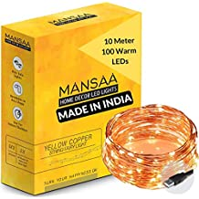 MANSAA® 10 MTR 100 LED USB String Light for Decoration, 1 Warm White LED Light with USB, Made in India, Pack of 1