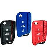Funda de silicona para llave de coche (3 unidades), accesorio universal para Volkswagen VW Golf 7 Mk7, Škoda Octavia 3 o A7