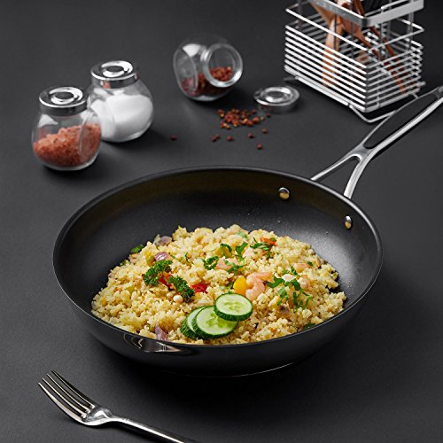 Frying Pan, Deik Non-stick Stainless Steel Frying Pan with Silicone Handle, Induction Friendly Pan with Raised Dot Non-Stick Surface, 28cm, Black