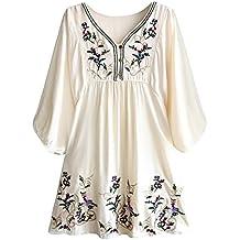 0e1c25cd93 Doballa Mujeres Vestido de Mini Blusa Bohemia Mexicana Bordado Floral