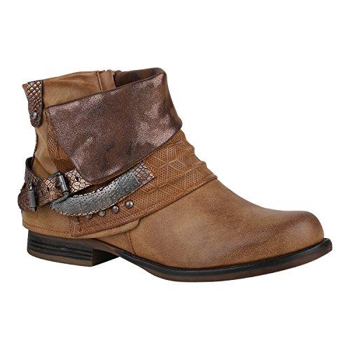 Und Kostüm Blog Mode (Damen Stiefeletten Biker Boots Schnallen Nieten Knöchelhohe Stiefel Leder-Optik Schuhe 124349 Braun 41 |)