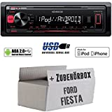 Ford Fiesta - Kenwood KMM-202 - MP3/USB iPod/Android-Steuerung Autoradio - Einbauset