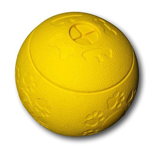 WEPO Hundespielzeug | Robuster Snackball aus Naturkautschuk ( Naturgummi ) mit Öffnungen und Hohlräumen für Leckerli | Für große und kleine Hunde | unzerstörbares Intelligenzspielzeug | Snackball | Kauball | Labyrinthball (Gelb)