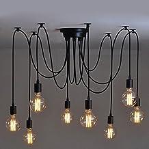 8 luces - Inicio Deco Vintage DIY Industrial accesorio de la lámpara colgante de luz Retro Lámpara de Techo de la lámpara de araña 6/8/10 luces (E27 base, Cada cable 1.5m, Ajustable)