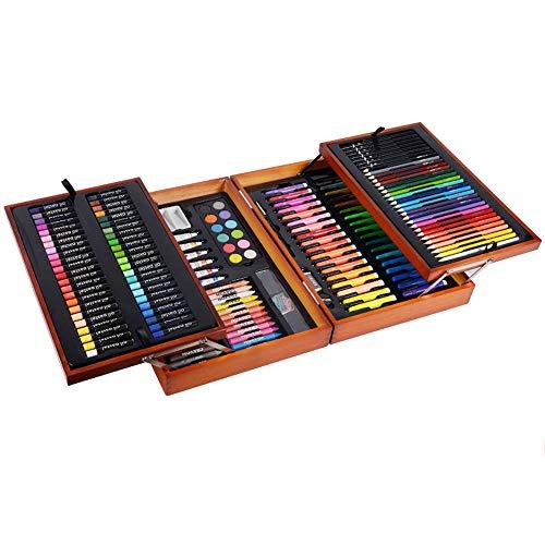 Deluxe Organizer Kurze Tasche (ZXYWW Kids Art Supplies Set, Zweischichtiges Massivholz-Malwerkzeug Malstifte Für Aquarellstifte, 197 Zweischichtiges Massivholz-Malwerkzeug)
