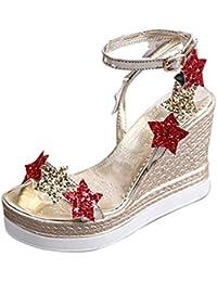 Sandalias mujer, ❤️Amlaiworld Sandalias de cuña de plataforma de mujer Sandalias de vestir Calzado Tacones altos Cinco estrellas zapatillas de playa Mujer Zapatos de tacón fiesta (Dorado, 39)