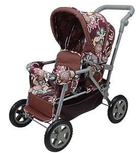 KNORRTOYS.COM 16677 - Cochecito de paseo para gemelos en color marrón con estampado de flores Importado de Alemania
