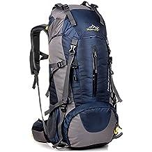 Wasserdichter Rucksack mit Wanderrucksack Fassungsvermögen aus strapazierfähigem Nylon mit Regenschutzhülle. Großer Trekkingrucksack, perfekt zum Wandern, Bergsteigen, Reisen und für Sport und Camping.