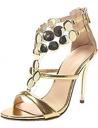 AIYOUMEI Damen Stiletto High Heel Hochzeit Sandalen mit 8cm Absatz Elegant  Modern Pumps Schuhe 986ea49911