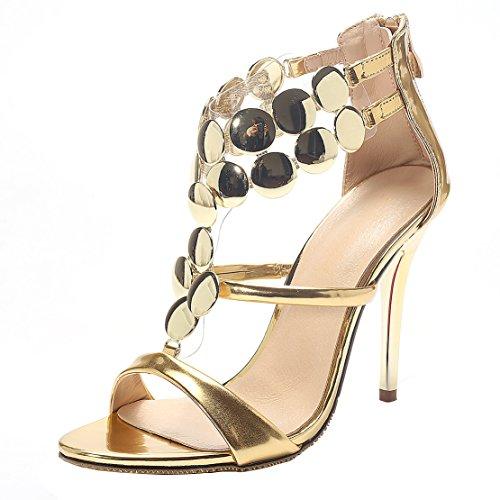 AIYOUMEI Damen Stiletto High Heel Hochzeit Sandalen mit 8cm Absatz Elegant Modern Pumps Schuhe Gold