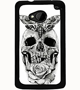 ColourCraft Skull Design Back Case Cover for HTC ONE M7