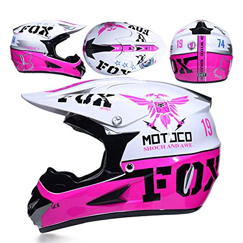 Adulto Motocross Casco Regalo Occhiali Maschera Guanti Fox Moto Racing Casco Integrale per Uomo e Donna,E,S