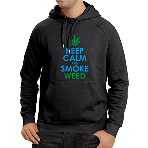 lepni.me Kapuzenpullover Halten Sie Ruhe und Rauch - Marihuana Blatt - Unkraut Raucher (XX-Large Schwarz Blau)