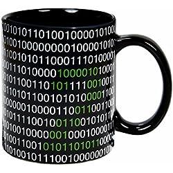 Taza mug desayuno de cerámica negra 32 cl. Modelo Código Binario