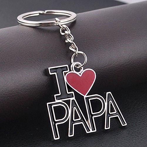 Outflower I Love Papa Portachiavi in Metallo Regali creativi per la Moda Gadget Chiave per Auto Regali per la Festa del papà - 3