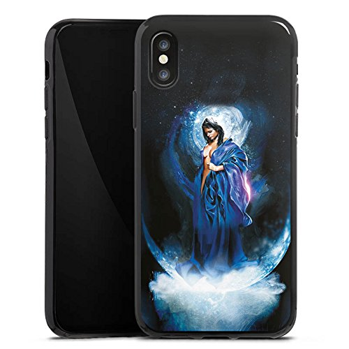 Apple iPhone X Silikon Hülle Case Schutzhülle Frau Mädchen Universum Silikon Case schwarz