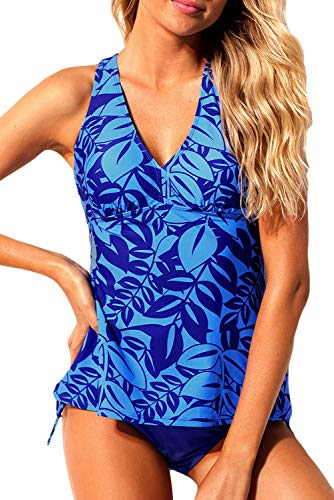 894c44c0a56e0 HOTAPEI Women's Printed Halter Tankini Swimsuits Two Piece Bathing Suit  Cami Swim Top and Panty Set