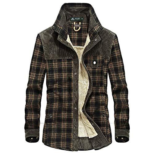 Wolle Flanell Jacke (SFSF Männer Warm halten Hemd Jacke Flanell Gitter Hemd Winter Wolle Futter Holzfäller Hemd Arbeitsjacke,002,XL)