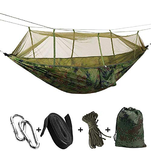 DARLING Tragbare Moskitonetz Camping Hängematte Doppel Ultraleicht Fallschirmjäger Hängematten Schlafen Hängebett Outdoor Möbel Tarnung (Fallschirmjäger Tasche)