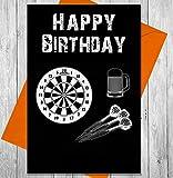 Geburtstagskarte Darts–Einzigartige Kreidetafel Effekt Grußkarte