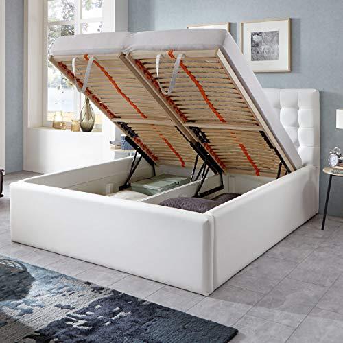 Luxus Polsterbett mit Bettkasten Molly XXL Kunslederbett Doppelbett Ehebett Weiß (160x200cm)