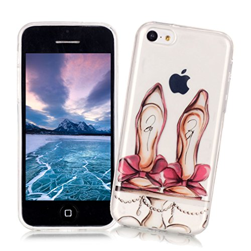 XiaoXiMi Coque iPhone 5/5S/SE Housse de Protection Etui Transparente en TPU Silicone Soft Gel Rubber Case Cover Coque Flexible Lisse Etui Ultra Mince Poids Léger Housse Anti Rayure Anti Choc avec Moti Hauts Talons Rose avec Bowknot