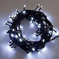 Catena di 7 m, 77 led bianchi, cavo nero, giochi di luce digitali, uso interno / esterno