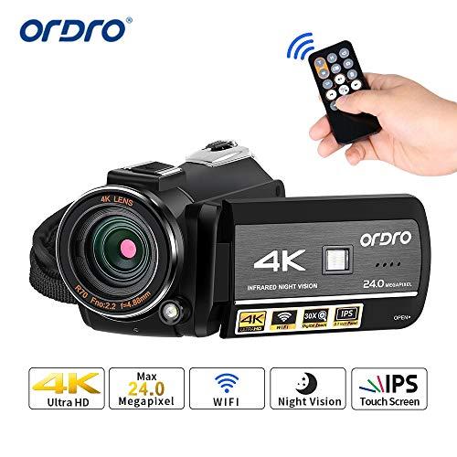 ORDRO 4K Camcorder 1080P 60FPS Video Kamera WiFi Camcorder Vlogging Kamera für YouTube mit IR Nachtsicht, Pausenfunktion, 3.1\'\'IPS Touchscreen, Fernbedienung