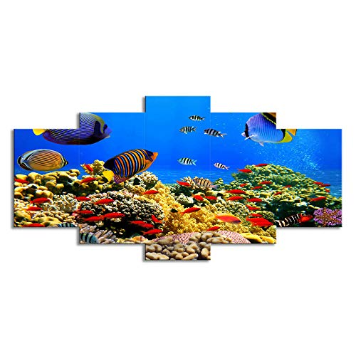 ChuangYing 5 Stück Kunst Marine Fische Korallen Malleinwand Wand Aufkleber drucken Zimmer dekorative Wand-Aufkleber