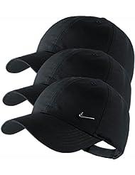 NIKE Metal Swoosh Cap für Kids in Schwarz o. Weiß Einzeln oder im Set (3x Black/Schwarz)