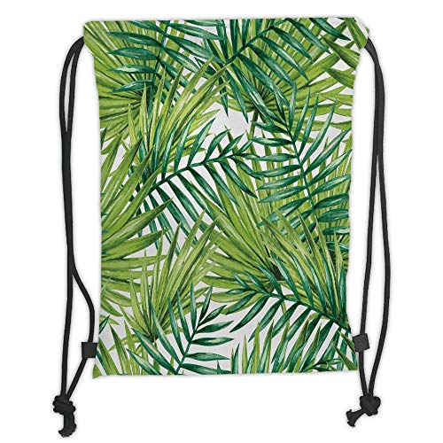 Fashion Printed Drawstring Backpacks Bags,Plant,Watercolor Tropical Palm Leaves Colorful Illustration Natural Feelings Decorative,Fern Green Lime Green Soft Satin,5 Liter Capacity,Adjustable Strin -