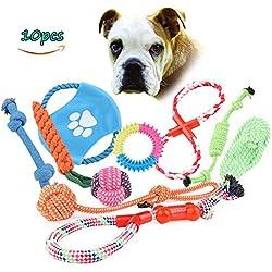 Juguetes para Perros Mascotas, 10 Piezas Juguetes para Cuerda Del Perro, Algodón / Cuerda Tejida / Hueso/Juguete Lazo / Durable / Masticar para mascotas Perro