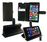Emartbuy® Microsoft Lumia 640 LTE / Lumia 640 LTE Dual Sim Premium PU Lederetui Tischladestation Geldbörse Tasche Hülle Schwarz mit KRotitkartenfächern