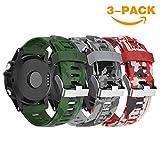 Yayuu Garmin Fenix 3/Fenix 5X Bracelet de Montre, Souple en Silicone de Montre de Rechange Accessoire de Sangle pour Garmin Fenix 3/Fenix 3 HR/Fenix 5X Montre (A,3Pack (Vert armée + Gris + Rouge))