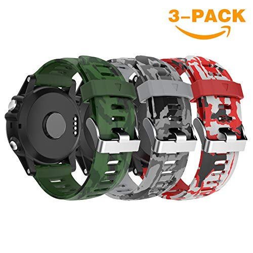 Garmin Fenix 3/Fenix 5 x Reloj Banda, Yayuu Suave Silicona Reloj Accesorio Correa de Repuesto para Smart Garmin Fenix 3/Fenix 3 HR/Fenix 5 x Reloj, Blanco (# D, 3Pack (Verde del ejército+Gris+Rojo))