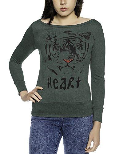 Damen Basis Langarm Casual Rundhals Top T-Shirt Shirt Baumwolle Bluse - Petrol