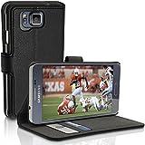 igadgitz Premium Etui Portefeuille Wallet Noir Cuir PU Housse Case Cover pour Samsung Galaxy Alpha SM-G850F avec porte cartes + Support Multi-Angles + Fermeture Magnétique + Film de Protection