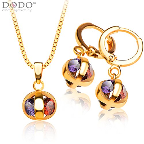 Colorful Zircon Pendants Necklaces/Earrings 18K Gold Plated crystal jewelry Set For Women S20113