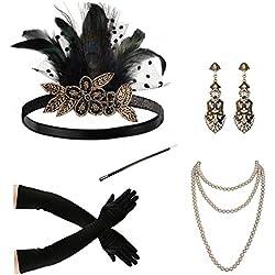 Années 1920 accessoires ensemble flapper bandeau collier gants porte-cigarette fantaisie robe accessoires pour femmes (A14)