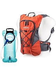 Overmont Pack Mochila Hidratación, 2L-2.5L deposito de agua y 8L de capacidad de almacenamiento, vejiga bolsa de agua para camping senderismo ciclismo correr acampar o caminar