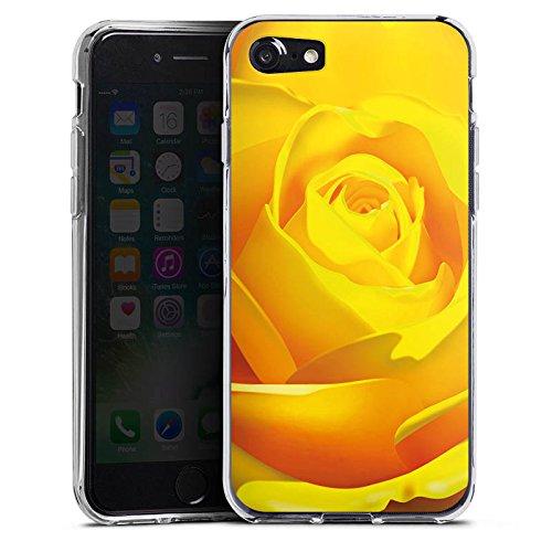 Apple iPhone X Silikon Hülle Case Schutzhülle Rose Blüte Gelb Silikon Case transparent