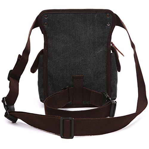 MeCooler Hüfttaschen Herren Tasche Outdoor Reisetaschen Gürteltasche Sporttasche Bauchtasche Trinkgürtel Canvas Sport Bag Vintage Brusttasche Handtasche Geldbeutel Schwarz