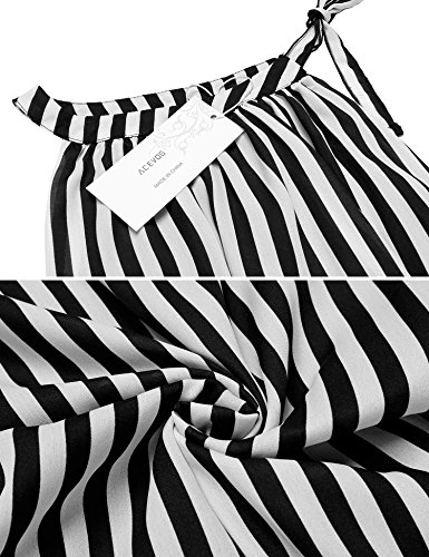 Zeela Women Casual Sleeveless Short Dress Striped Halter Neck Swing Dress Mini Dress Above Knee With Bell For Casual Party Evening Cocktail